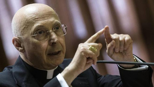 , president of the Italian Episcopal Conference, talks to the media during a press conference at the Vatican, Thursday, May 21, 2015. ANSA/ANGELO CARCONI