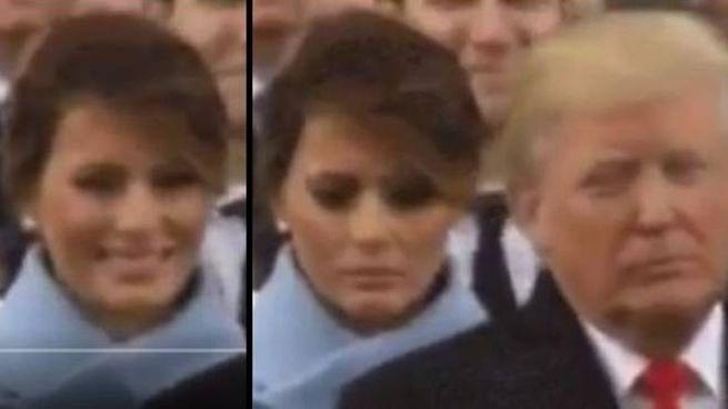 Melania triste: il sorriso a Trump, la smorfia quando si volta