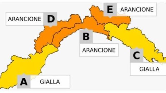 L'allerta meteo in Liguria per domenica (twitter)