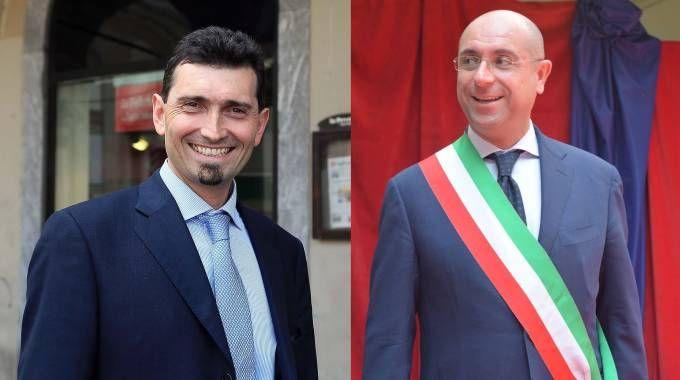 A sinistra il sindaco di Vigevano Andrea sala, a destra il sindaco di Voghera Carlo Barbieri