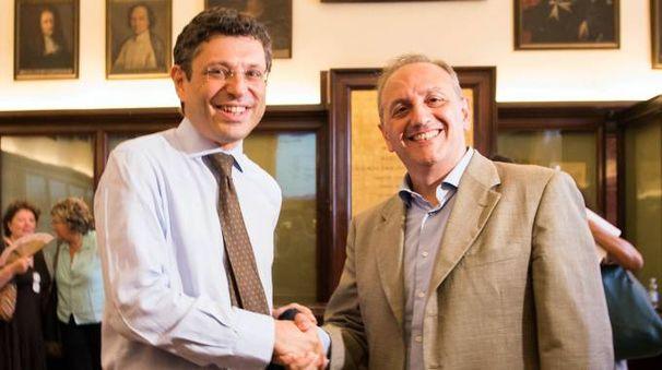 Da sinistra: Francesco Ubertini e Gianluca Fiorentini, al ballottaggio per diventare il nuovo Rettore dell'Università di Bologna (FotoSchicchi)