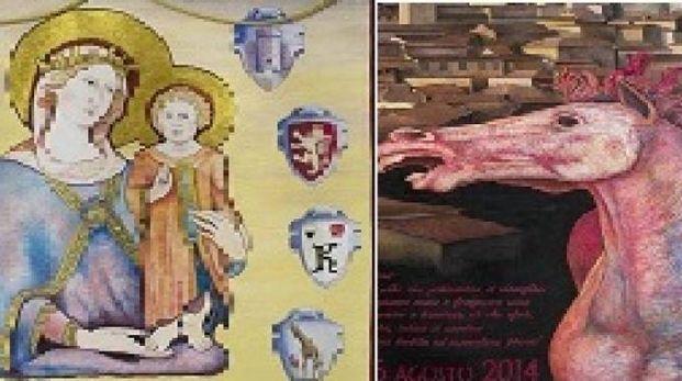 Due particolari del Drappellone del Palio dell'Assunta 2014