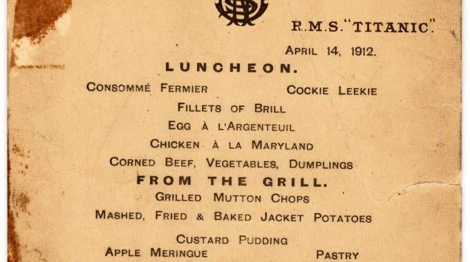 Il menù del Titanic (AFP)