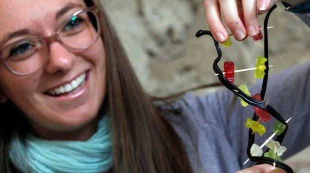 RICERCA Una giovane ricercatrice con un modello di dna