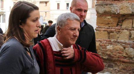 PRESSPHOTO Montepulciano (SI) le ripreße della serie televisiva, I Medici. Nella foto Dustin Hoffman. Foto Mori - Abruzzese/New Press Photo