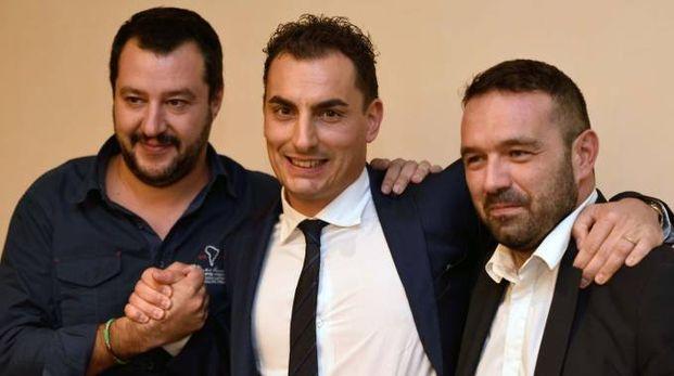 Da sinistra: Matteo Salvini, Jacopo Morrone e Gianluca Pini (foto Fantini)