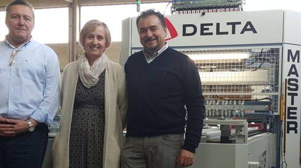 Da sinistra, Marco Morselli, Lucia Silvani  e Maurizio Gilli insieme  in officina