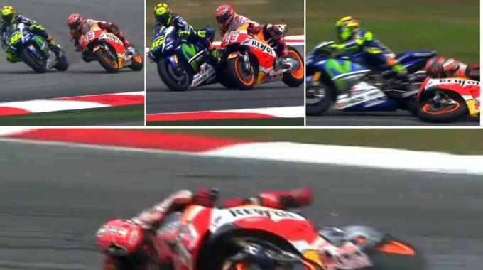 Rossi calcia Marquez: la sequenza (Ansa)