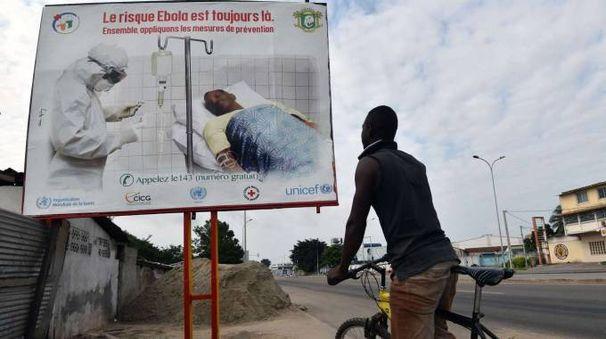 Un cartellone per sensibilizzare la popolazione sull'ebola in Costa d'Avorio (AFP)