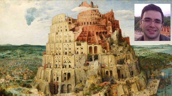 La torre di Babele di Bruegel e, nel riquadro, Roberto Navigli