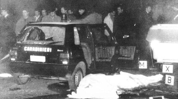 Il luogo dove vennero uccisi tre carabinieri al Pilastro (Ansa)