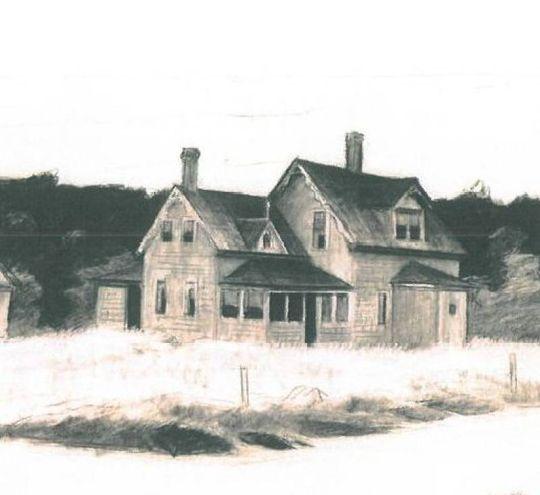 'Study for House by a Road'. È lo studio preparatorio per 'Casa sulla strada', un olio del 1942 (1940). Gessetto su carta