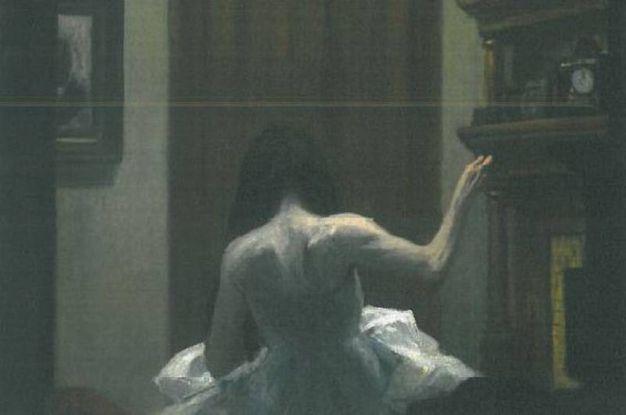 'New York interior'. Il vestito e il gesto della donna di spalle, che cuce, richiama le ballerine di Degas (c. 1921). Olio su tela