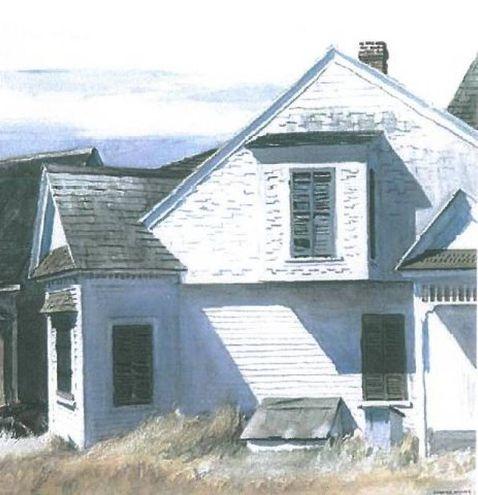 'House on Pamet River'. La casa sul fiume Panet si trova a Truro, meta di vacanza degli Hopper (1934). Acquerello e matita su carta
