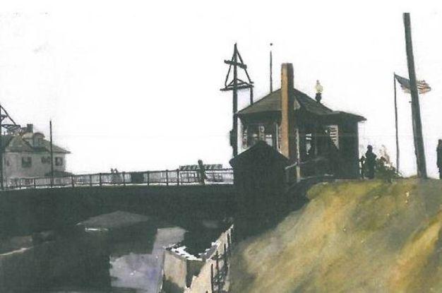 'Blynman Bridge'. Il ponte Blynman, sul canale omonimo, si trova a Gloucester, Massachussets (1923-24). Acquerello e matita su carta