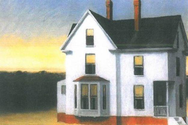 'Cape Cod Sunset'. Dipinto nel New England, dove Hopper passò decine di estati, è uno dei suoi quadri più noti (1934). Olio su tela
