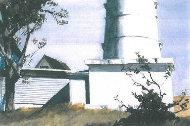 'Light at Two Lights'. Hopper cominciò a disegnare fari fin da studente. Questo si trova nel Maine (1927). Acquerello e matita su carta