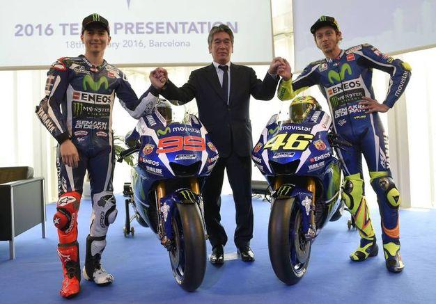 Jorge Lorenzo e Valentino Rossi alla presentazione della Yamaha M1 (AFp)