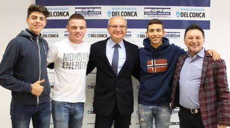 I piloti del team con Enzo Donald Mularoni e Fausto Gresini