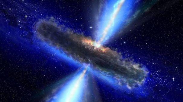 Onde gravitazionali: un dipinto che riproduce la collisione tra buchi neri (Afp)