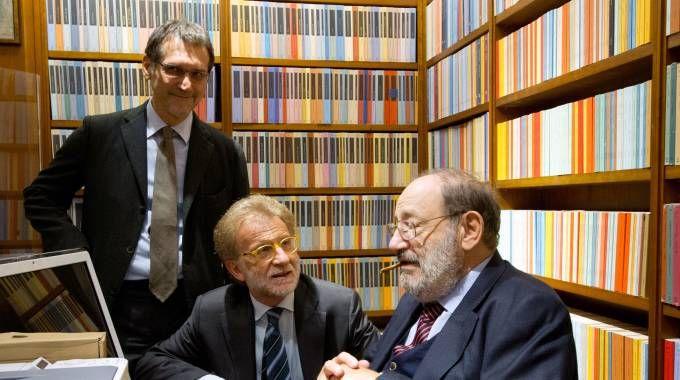 Bologna, Umberto Eco all'inaugurazione della libreria Coop di piazza Galvani (Schicchi)