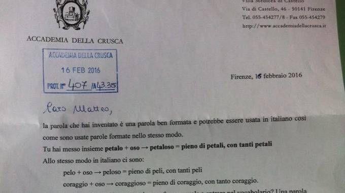 La lettera con cui l'Accademia della Crusca 'riconosce' la parola 'petaloso'