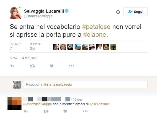 Immancabile il tweet di Selvaggia Lucarelli (Foto da Twitter)