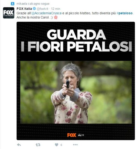 Fox Italia e la citazione su The Walking Dead (Foto da Twitter)