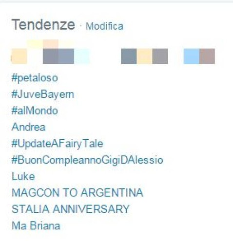 La classifica dei trend topic (Foto da Twitter)