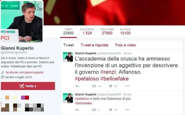 Una citazione anche sul seguitissimo profilo fake di Gianni Cuperlo (Foto da Twitter)