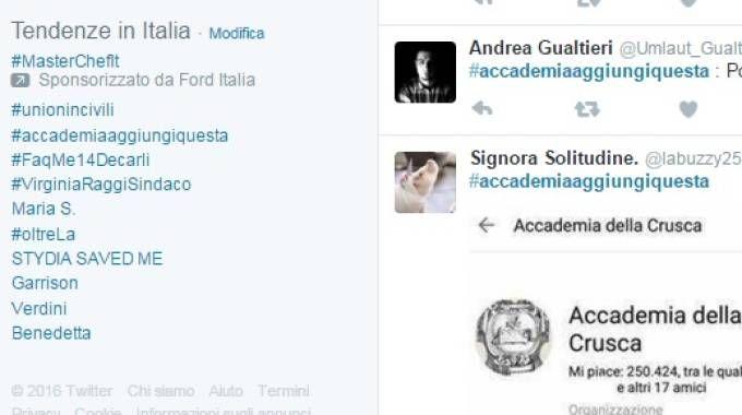 Su Twitter impazza l'hashtag #accademiaaggiungiquesta