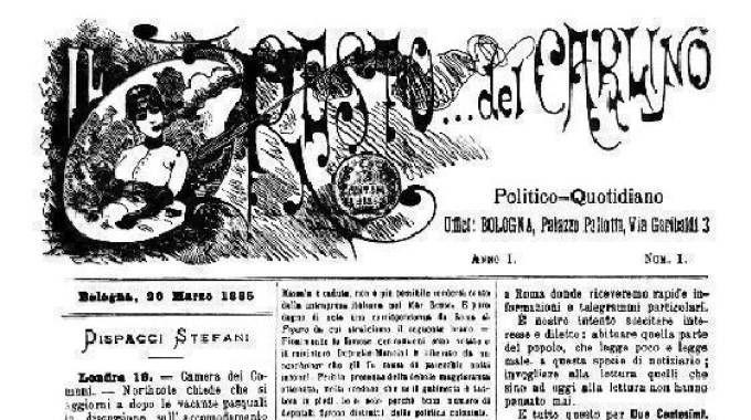 Prima pagina della prima uscita del Carlino