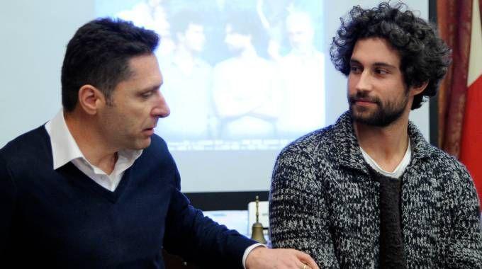 Il produttore Mario Tordini con l'attore Simone Riccioni (foto Calavita)