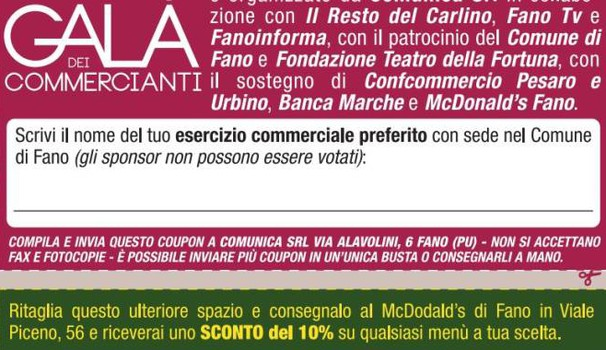 Fac simile del coupon