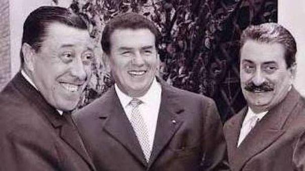 Fernandel e Gino Cervi con Giovannino Guareschi