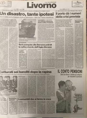 La tragedia del Moby Prince raccontata sulla nostra cronaca di Livorno dell'epoca