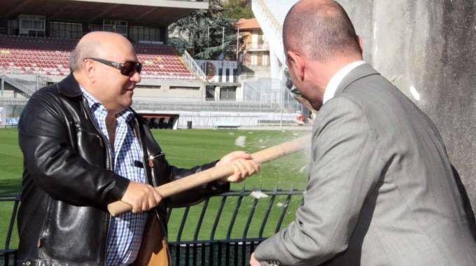 Il presidente dell'Ascoli Bellini con il sindaco Castelli