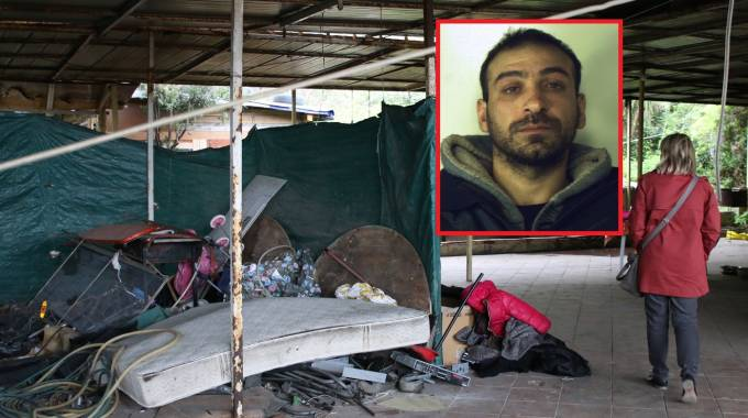 La baracca dell'orrore e, nel riquadro, Tonino Krstic, 31 anni