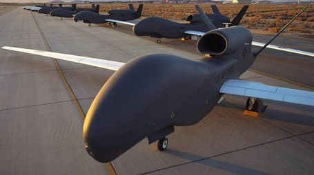 epa05132994 A undated handout image, made available by Northrop Grumman showing RQ-4 Block 10 Global Hawk unmanned drones at an undisclosed location. Northrop Grumman, manufacturer of Global Hawk drone and B-2 Spirit bomber released their 4th quarter and fiull year 2015 results on 28 January 2016, saying their 4th-quarter net earnings stood at 459 million USD, compared to 506 million USD in the previous year. For 2015, net earnings totaled 2.0 billion USD, or 10.39 USD per diluted share, compared to 2.1 billion USD, or 9.75 USD per diluted share in 2014.  EPA/NORTHROP GRUMMAN / HANDOUT  HANDOUT EDITORIAL USE ONLY/NO SALES
