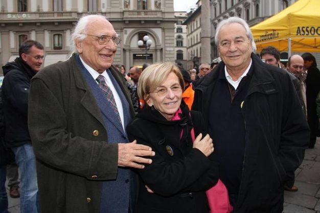 Marco Pannella a Firenze con Emma Bonino e Alfonso De Virgiliis (New Press Photo)