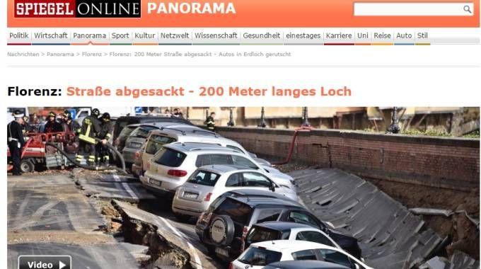 "Voragine lungarno Torrigiani, la notizia su ""Spiegel Online"""