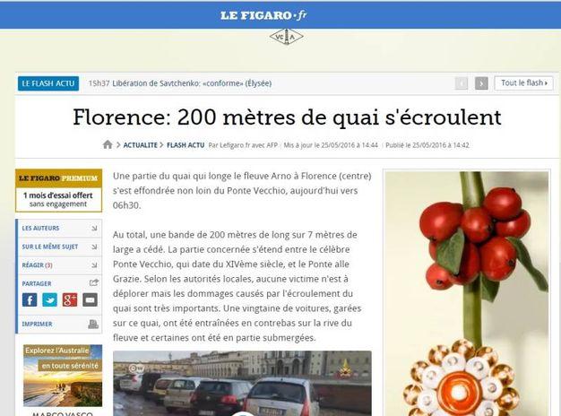 """Voragine lungarno Torrigiani a Firenze,  la notizia sui media internazionali: """"Le Figaro"""""""