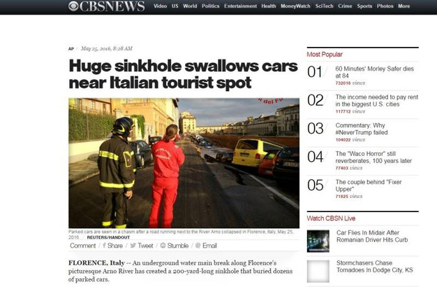 """Voragine lungarno Torrigiani a Firenze,  la notizia sui media internazionali: """"Cbs"""""""