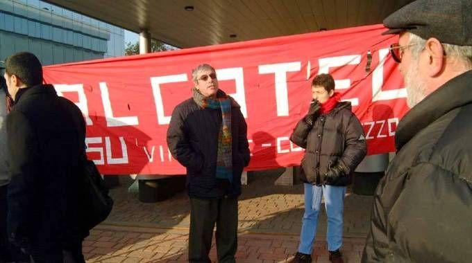 Manifestazione dei lavoratori Alcatel