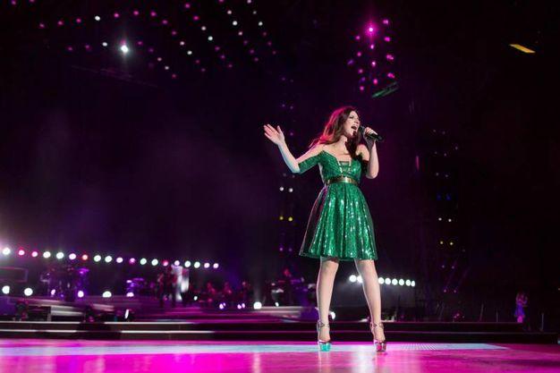 Laura Pausini, look scintillante verde