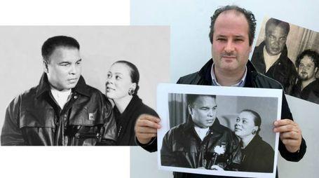 Giacomo Guidi con lo scatto originale, Muhammad Ali e la foto pubblicata e poi Guidi con il campione nel 1997