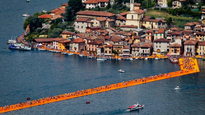 The Floating Piers, veduta dall'alto