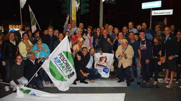 Festa per Caterina Molinari nuovo sindaco di Peschiera Borromeo (Newpress)