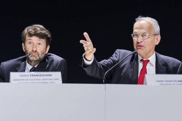 Dario Franceschini e Hans Hinz, presidente di Hinz di Icom, durante la conferenza mondiale dei musei a Milano