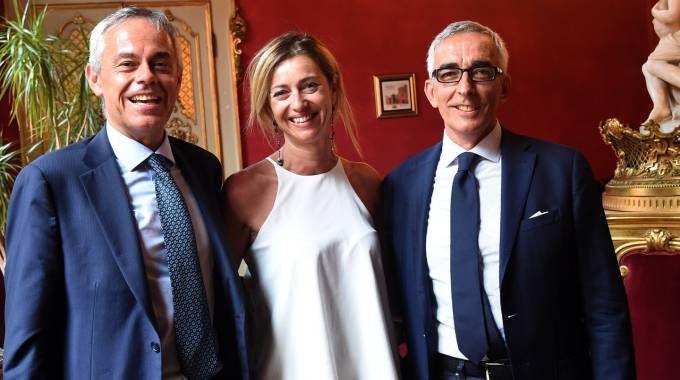 Da sinistra, Giancarlo Tonelli, Sabrina Orlandi ed Enrico Postacchini (FotoSchicchi)
